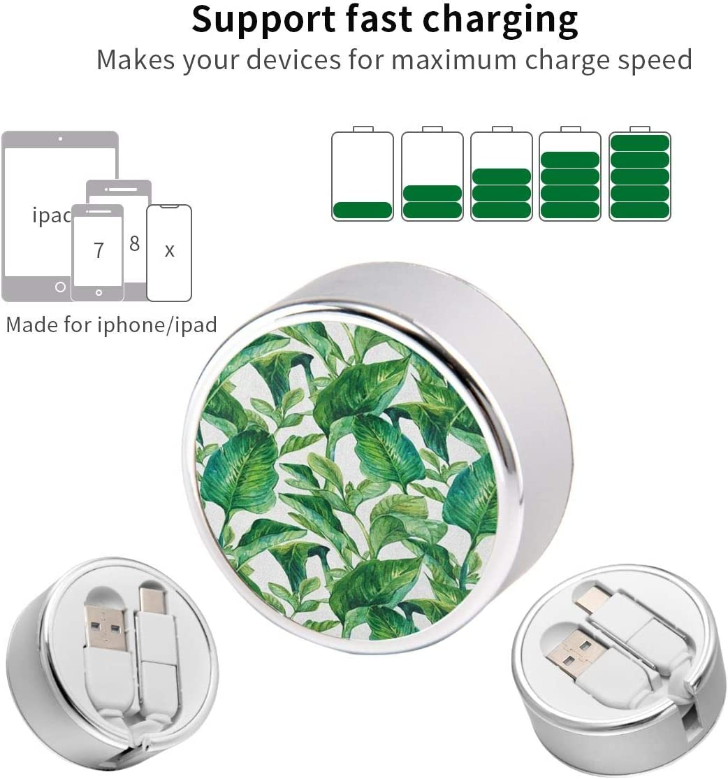 Charging Cable Can Be Charged and Data Transmission Synchronous Fast Charging Cable-Green Flowers and Leaves/_9 Round USB Data Cable