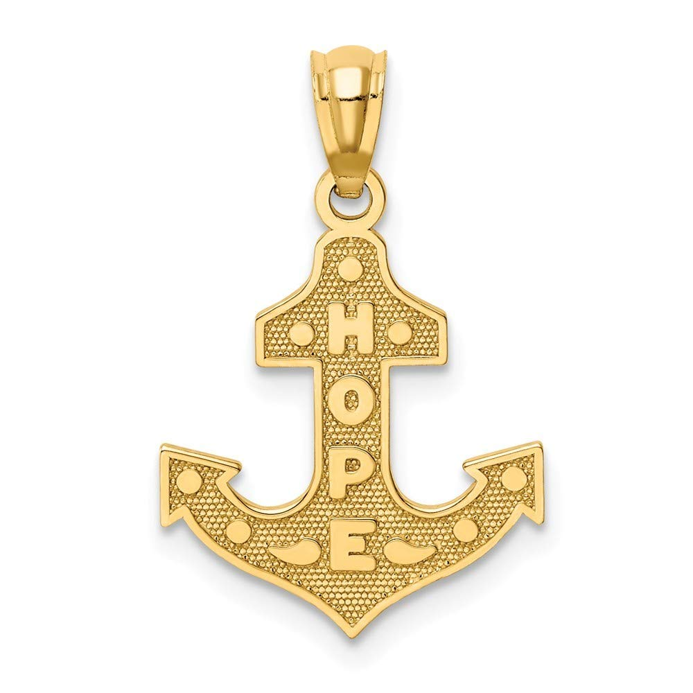 14K Yellow Gold Satin And Polished Hope Anchor Pendant from Roy Rose Jewelry