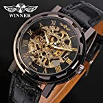 Gute Classic Steampunk Bling Automatic Mechanical Wristwatch See Through Skeleton Automatic Unisex Watch (Gold Black) 10