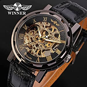Gute Classic Steampunk Bling Automatic Mechanical Wristwatch See Through Skeleton Automatic Unisex Watch (Gold Black)
