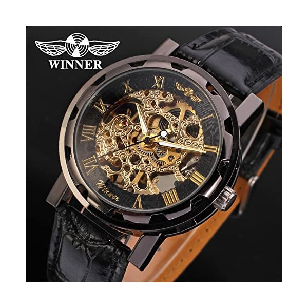 Gute Classic Steampunk Bling Automatic Mechanical Wristwatch See Through Skeleton Automatic Unisex Watch (Gold Black) 4