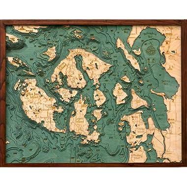 Woodchart San Juan Islands Wood Nautical Chart, 24.5 x 31