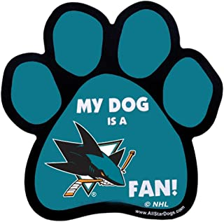 product image for All Star Dogs NHL San Jose Sharks Paw-Shaped Magnet, One Size, Black