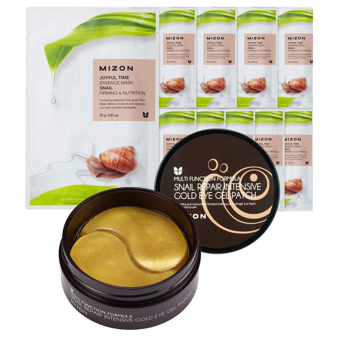 Mizon Snail Eye Patches and Snail Face Mask Set: Snail Repair Intensive Gold Eye Gel Patch (60 pcs) & Joyful Time Essence Mask (10 pcs)