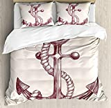 Cream and Mauve Bedding King Size Anchor 3 PCS Duvet Cover Set, Realistic Hand Drawn Sketch Marine Vintage Design Sails Yacht Boat Cruise, Bedding Set Bedspread for Children/Teens/Adults/Kids, Dark Mauve Cream