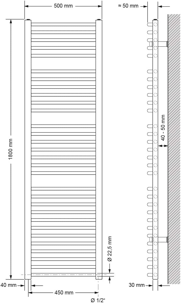 ECD Germany Badheizk/örper Elektrisch mit Heizstab 1200W 400 x 1200 mm Heizk/örper Handtuchw/ärmer Handtuchtrockner gerade mit Seitenanschluss Chrom