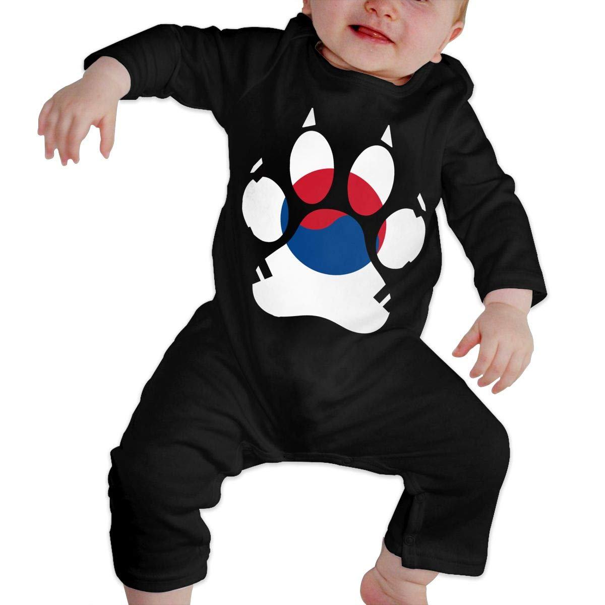 Cute Korea Flag Dog Paw Onesies Long Sleeve Cotton Bodysuit for Baby Boys and Girls