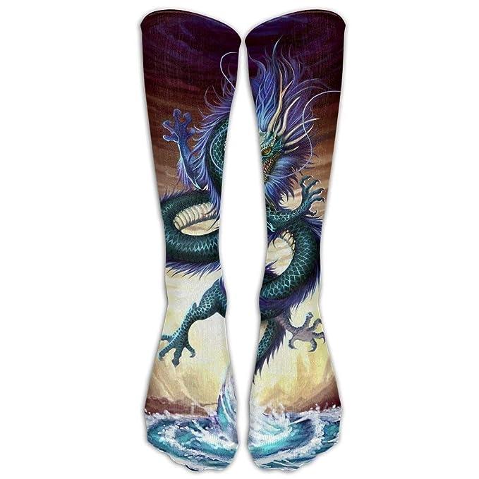 Hot Red Fury Chinese Dragon Knee High Long Socks Athletic Sports Tube Stockings For Running Football Soccer 50cm
