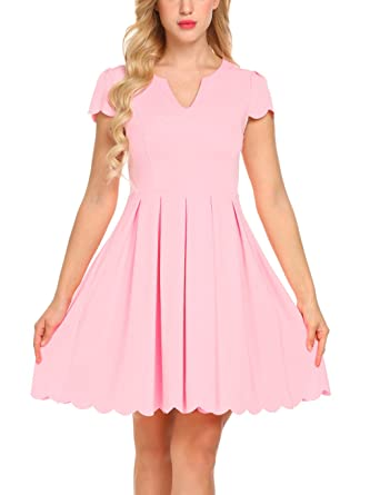 Sweetnight Women Fashion Cute Sweet Scallop Pleated Skater Dress Party Dress  (Light Pink 1f761f11f