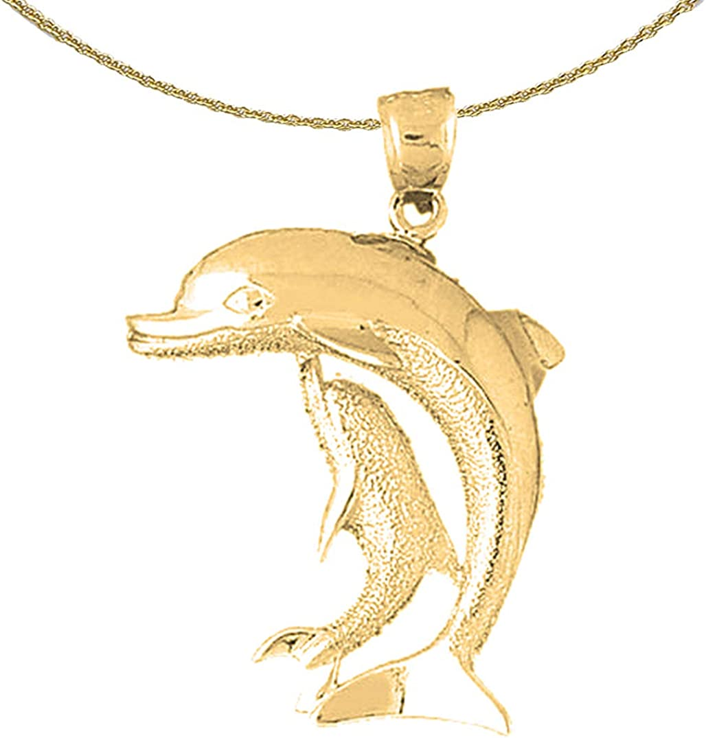 Jewels Obsession Dolphin Necklace Rhodium-plated 925 Silver Dolphin Pendant with 18 Necklace