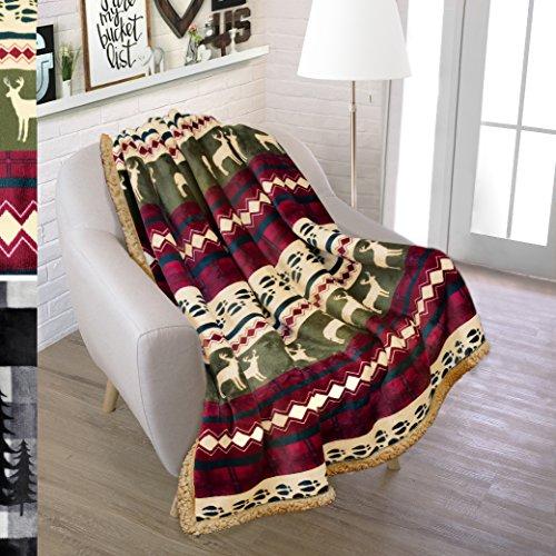 "Premium Plush Sherpa Throw Winter Blanket by Pavilia | Soft, Warm, Cozy, Lightweight Microfiber | Perfect Gift Idea For Holidays, Housewarming | 50"" x 70"" (Red) (Throw Christmas Blanket)"
