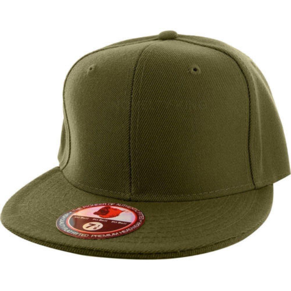 Plain Fitted Flat Billキャップバイザー野球基本的な新しい空白ソリッド帽子スポーツ色 7.75 オリーブ B07D9K2FNV