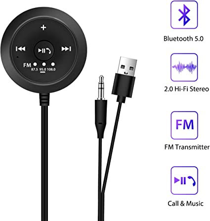 Bluetooth Receiver Car Kit Audio FM Transmitte Radio Adapter 3.5mm USB Charger
