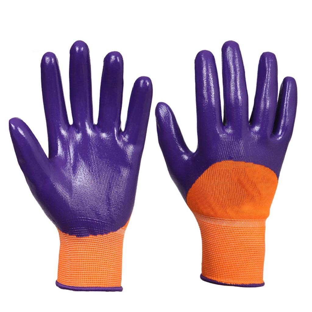 AINIYF Industrial Gloves Nylon Latex Wrinkle Coated Work Gloves Knit Wrist Cuff Protective Flexible(purple,12 Pairs Per Pack)