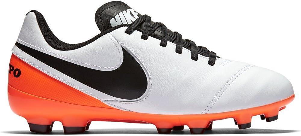 2 Jr Tiempo Legend VI FG Shoes Cleats White//Black//Total Orange