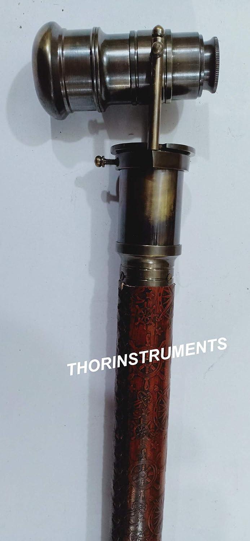 Nautical Marine Bronze Walking Stick Cane 38 with Hidden Telescope Coverd Leather