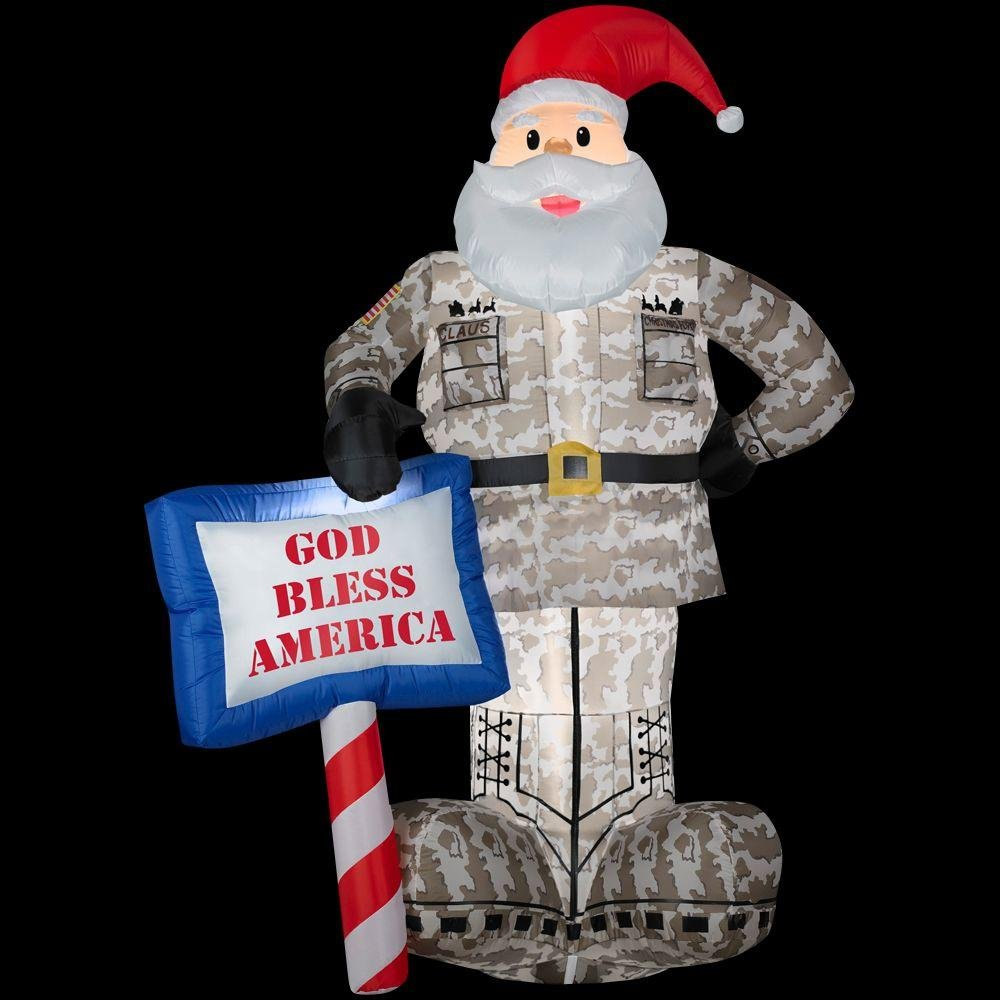 amazoncom christmas decoration lawn yard inflatable airblown military santa 7 tall garden outdoor