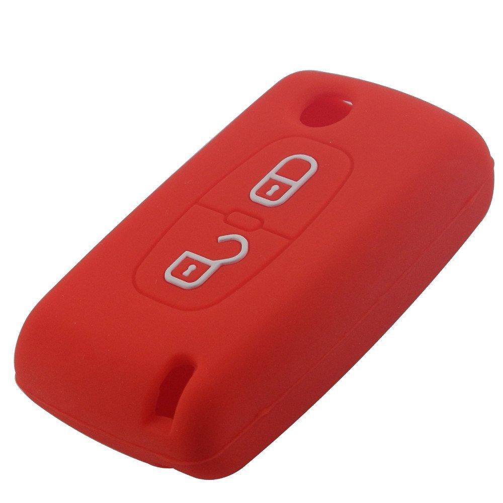 Pro-Plip Housse Silicone CLE Citroen 2 Boutons c1 c2 c3 c4 c5 c6.Rouge Etui de Protection Coque telecommande