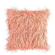 Long Fluff Pillow Plush Soft Cozy Faux Fur Square Throw Pillow Plush Pillow Cases Sofa Cushion Cover Home Decorative Pillow Cases(Pink)