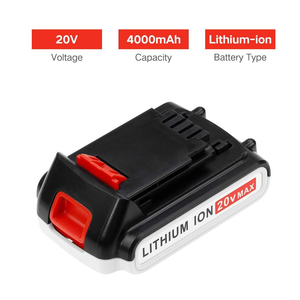 Moticett 20V 4,0Ah Li-ion LBXR20 Batterie de remplacement pour Black and Decker BL2018 LB20 LBX20 LBXR20 LBXR2020-OPE LBXR20B-2 LB2X4020 BL1318 BL1518 BL1518-XJ Outils /électriques sans fil