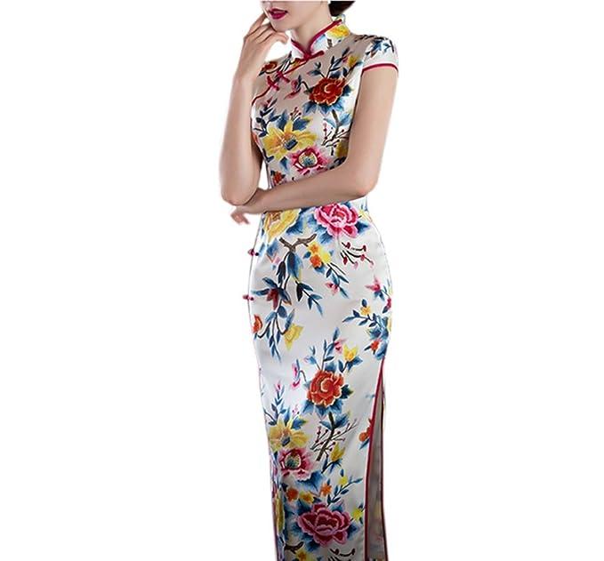 aa7dbbf0e09b2 XueXian(TM) Mujer Vestido Estampado para Señora Estilo Chino Mejora de la  Cheongsam Largo ESP 42 China XXL  Amazon.es  Ropa y accesorios