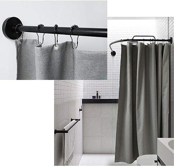 HNCS Barra Cortina Ducha Esquina Soporte En Tipo L Sin Taladro Extensible Ra/íL para Cortina De Ducha Curved con Impermeable Shower Curtain para Ba/ñOs Peque/ñOs En Los,60 to 90 x 60 to 90cm