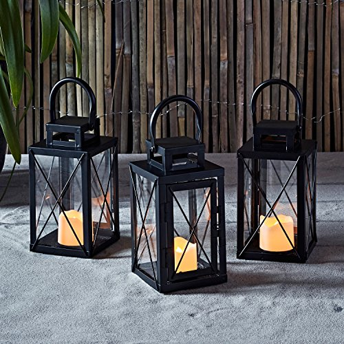 - Lights4fun, Inc. Set of 3 Matte Black Metal Battery Operated LED Flameless Candle Lanterns