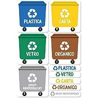 Haberdashery Online 5 Etichette adesive per Raccolta rifiuti. Adesivi per Il Riciclaggio. Ogni Etichetta di 4,8 x 4,8 cm.