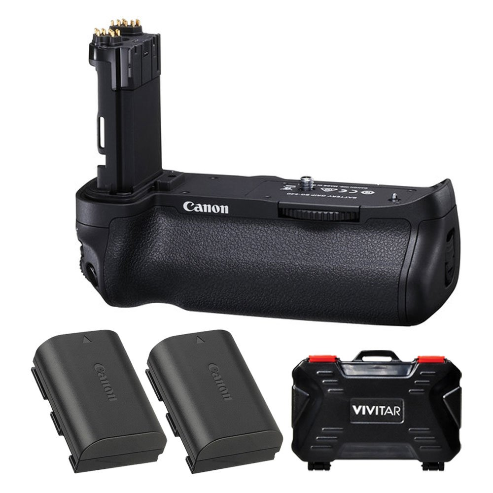 Canon BG-E20 Battery Grip for EOS 5D Mark IV Digital SLR Camera + 2X Canon LP-E6N Replacement Battery + Vivitar Memory Card Hardcase (24 Card Slots) – Top Accessory Bundle