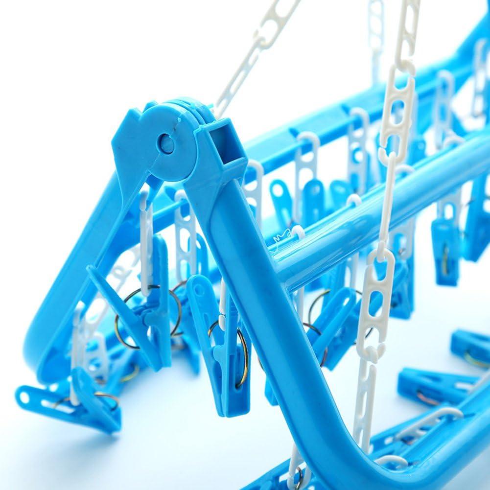 Blue oobest antivento appeso bucato stendibiancheria stendino pieghevole portatile con 32/clip per vestiti Underwears calzini 02# plastica