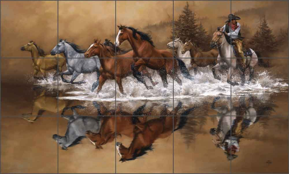 Western Cowboy Ceramic Tile Mural Backsplash 21.25 x 12.75 Kitchen Shower Decor Stolen Horses by Jack Sorenson