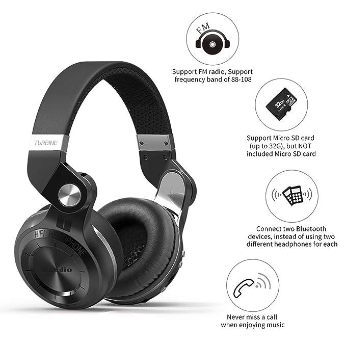 2be5e053ca2 Bluedio T2 Plus audífonos inalámbricos Bluetooth Plegables,Manos Libre,  Radio FM y Micro SD (Negro): Amazon.com.mx: Electrónicos