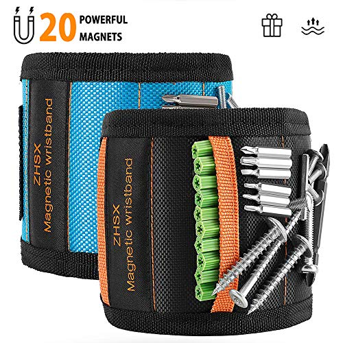 ZHSX Magnetic Wristband, 2Pack Tool Belt With 20 Powerful Magnets Ideas presents For Fixing Tools, Screws, Nails, Bolts, Drills, Mens Gift Ideas, Father/Dad, Boyfriends,Repairmen, Woodworkers (For Dad Boyfriends Ideas Gift)