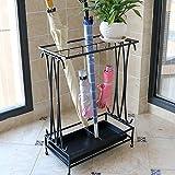 Umbrella Stands WSSF- Iron Art Hotel Lobby Entrance Umbrella Shelf With Drip Tray/8 Hooks Household Creative Floor-standing Rain Gear Umbrella Storage Holder Rack,442460cm (Color : Black)