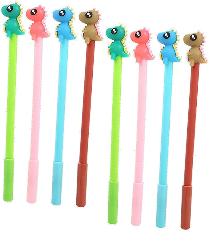 2x Kawaii Baby Dinosaur Gel Pens ~ Cute Stocking Stuffers Novelty Animal Pen Set