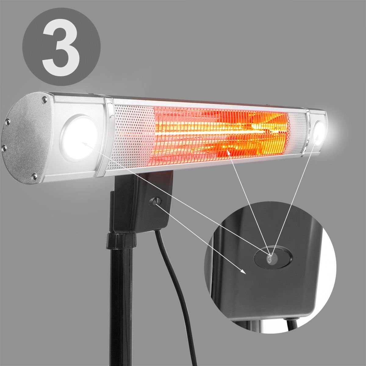 XtremepowerUS Infrared 1500W Electric Patio Heater Wallmount or Freestanding Adjustable Heat/Height with 2 Led Light by XtremepowerUS