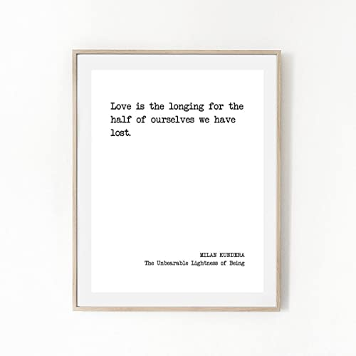 Love Is The Longing Milan Kundera Literary Quote Print