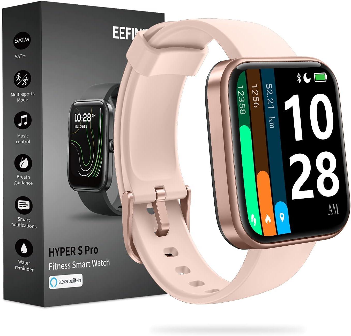 EEFINITE Smart Watch for Android iOS Phones, Alexa Built-in, 24/7 Heart Rate, Fitness Smartwatch with SpO2 Stress Sleep Measurement, 5ATM Waterproof Swim Tracker Watch for Women Men, Pink