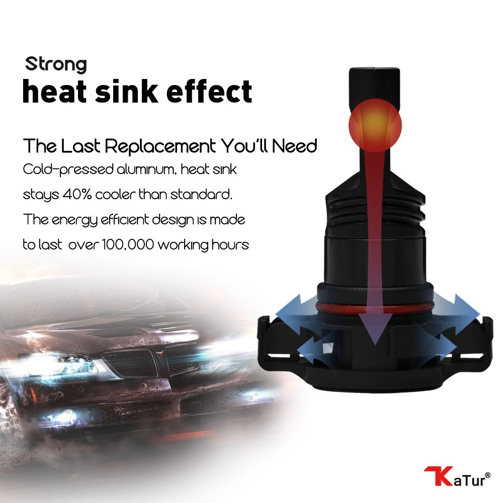 80W // 1600LM // 6500K verbesserte Version KaTur Automobil Xenon Wei/ß H16 Drving-Nebelscheinwerfer mit Tagfahrlicht und TOP CSP-Chips 3 Jahre Garantie