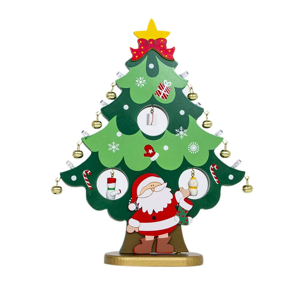 Wingbind Wooden Christmas Tree Crafts,DIY Small Green and Red Xmas Tree for Home Office Shop Table Desk Decoration,with Lights and Bell
