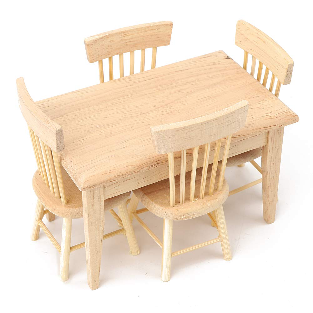 SOONHUA 5 Pcs Dollhouse Miniature Desk Chair Set, Simulated Mini Wooden Dining Room Furniture Set,1:12 Scale