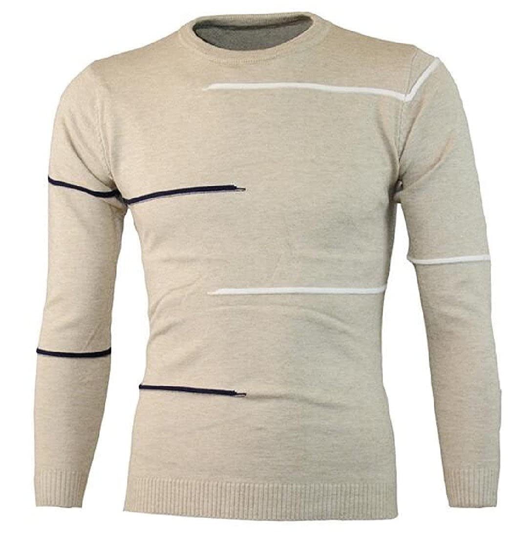 RSunshine Men Chic Long-Sleeve O-Neck Striped Print Pullover Sweater