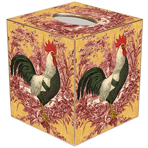 RR Rooster on Red and Gold Toile Paper Mache Tissue Box Cover