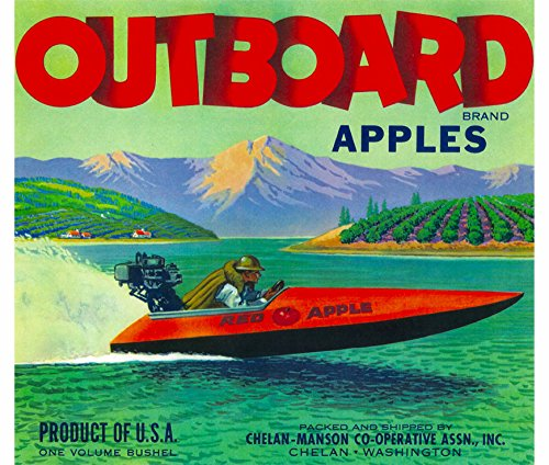 Apple Crate Label Art - A SLICE IN TIME Chelan Washington Outboard Speed boat Apple Fruit Crate Box Label Art Print