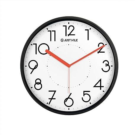 Amazon.com: JustNile Silent Non Ticking Modern Wall Clock - 13 ...