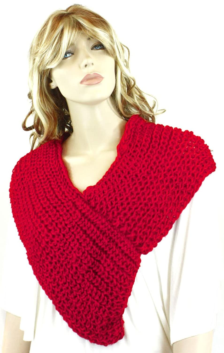 Women One Size Hot Red V Neck Knitted Pancho Shawl Scarf