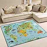 YZGO Cartoon World Map Animal Sightseeing Attractions - Kids Children Area Rugs Non-Slip Floor Mat Resting Area Doormats
