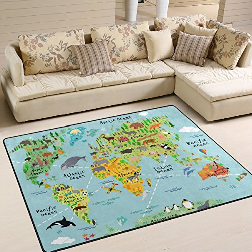 YZGO Cartoon World Map Animal Sightseeing Attractions - Kids Children Area Rugs Non-Slip Floor Mat Resting Area Doormats by YZGO