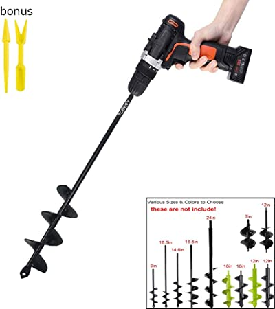 Garden Plant Flower Bulb Auger 3 x 12 Rapid Planter with Garden Genie Gloves Upgrade Version Blika Auger Drill Bit Post or Umbrella Hole Digger for 3//8 Hex Drive Drill fits Rocky Soil /& Clay