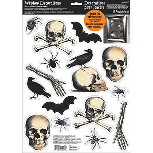 Eerie Boneyard Halloween Party Assorted Glittered Creepy Window Decoration, Vinyl, 17